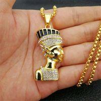 Collares colgantes hip hop egipcio reina nefertiti para mujeres joyería color oro acero inoxidable joyería al por mayor