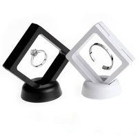 2020 schmuck ring anhänger display stand suspendierte schwimmende vitrine handelsfall schmuck münzen edel edelfakten stehen halter box frauen weiß schwarz 2