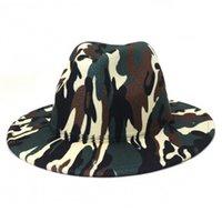 fedora hats women men camouflage wide brim casual jazz cap print western cowboy luxury outdoor formal dress men women felted hat