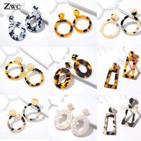 Dangle & Chandelier ZWC Bohemia Acrylic Resin Large Drop Earrings For Women Leopard Round 2021 Simple Geometric Fashion Jewelry Gift
