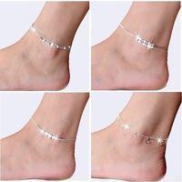 Neue 925 Sterling Splitter Knöchel Armband Für Frauen Fuß Schmuck Inlaid Zirkon Fußklets Armband auf einem Bein Persönlichkeit Geschenke 527 T2