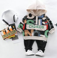 Spring Autumn Baby Boy Girl Clothing Set Cotton Kids Toddler Clothes Hooded Tops Boy Infant Sports Suit