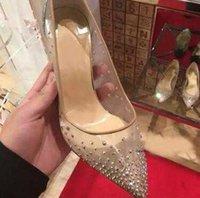 2021 Spring Summer Styles élégants Femmes strass talons hauts cristaux pointus orteils pompes femme femme semelle rouge chaussures de mariage