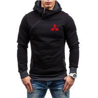Men's Hoodies & Sweatshirts Mitsubishi Logo 2021 Casual Zipper Male Solid Color Hooded Outerwear Wear Tops