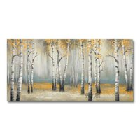 Paintings Modern Art 100% Hand-painted Birch Trees Forest Canvas Oil Painting Home Good Wall Unframed Artwork