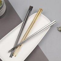 Chopsticks 1 Pair Reusable Rainbow Stainless Steel Tableware Chinese Dinnerware Non-slip 23cm Kitchen