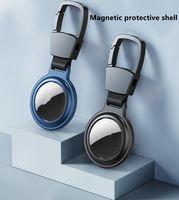 Airtag Loop Cubierta protectora magnética Cubierta de funda de metal anti-otoño con llavero Anillo para Apple Airtags Smart Bluetooth Rastreador inalámbrico Anti-perdido