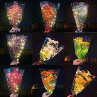عيد الحب يوم مضيئة bouquet babysbreath ديزي عباد الشمس هدية ل mobth's يوم الصمام الجبسوفيلا الملونة المنزل عيد حفل زفاف الديكور g65shwy