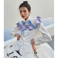 Women's Blouses & Shirts Casual hit color blouse for woman lapel long sleeve bowknot elegant female shirt fashion clothes 6GII