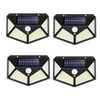 야외 조명 태양 램프 1800 ~ 2400mAh 3 모드 인체 모션 센서 100 114 180LEDS 벽 조명 하우스 가든 스트리트 안뜰 방수 IP65 LED 빛