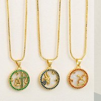 Pendant Necklaces 12 Colors CZ Constellations Necklace Fashion Cubic Zirconia Horoscope Zodiac Sign Lucky Jewelry