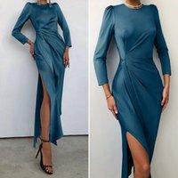 Casual Dresses Womens 2021 High Slit Satin Bodycon Dress Celmia Elegant Long Sleeve Sexy Sheath Party Night Club Maxi Vestidos 5XL 7