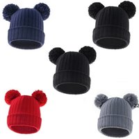 Children winter fashion wool hat solid color double ball baby hats Warm drawstring knitted cap HWF10325