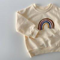 الخريف طفل الفتيات التطريز rainbow سوياتشيرتس طويلة الأكمام قمم الاطفال طفل الفتيان البلوز البلوز القوس قزح تي شيرت الملابس