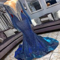 Sequins Mermaid Prom Dresses Beads Sheer Neck Long Sleeves Mermaid Evening Gowns With Tassels Sweep Train Custom made Formal Party Dress