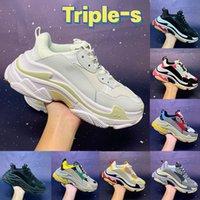 2021 Moda Triple-S Paris Erkekler Rahat Ayakkabılar Siyah Beyaz Kırmızı Yeşil Sarı Mavi Gri Pembe Kadın Sneakers Erkek Eğitmenler ABD 6-12