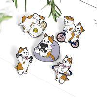 Épingles, broches cute dessin animé chat faire des exercices broche pain hula haltère vélo vélo cerceau animal animal bagage sac sac giselin bijoux cadeaux