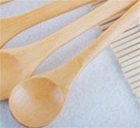 20pcs / lot 5inch Spoon en bois Ecofriendly Japan Vaisselle Soupe Scoop Scoop Café Honey Tea Tea Tête Tête Ronde Cuillère Agitateur 381 R2
