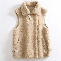 Women's Fur & Faux Fashion Short Real Grain Lamb Vest Jackets Sheep Shearling Wool Waistcoats Turn Down Collar Sleeveless Outwear