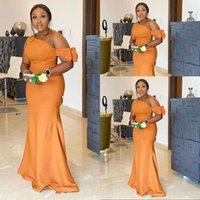 2021 Sexy South African Orange Yellow Mermaid Bridesmaid Dresses One Shoulder Bow Plus Size Garden Country Wedding Guest Party Gowns Maid of Honor Dress Custom