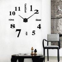 Acryl Große 3D Wanduhr Rahmenlose Spiegelzahl Sticke Kunst Aufkleber Wohnzimmer Dekor Moderne Design Uhren