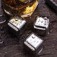 304 из нержавеющей стали ледяной кубик многоразовые охлаждающие камни для виски вина держите ваш напиток металлический лед виски красное охлаждение вина T2I51764