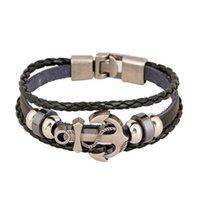 Vintage Multi Layered Geflochtene Lederarmbänder für Männer Frauen Armreif Charm Anker Zubehör Armband Pulseira Dropshipping