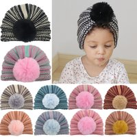 Autumn Winter Warm Hats For Babies And Toddlers India Hat Kids Skull Beanie Cap Infants striped Knitted pompom Caps Turban Boys Girls 11 Colors M3861
