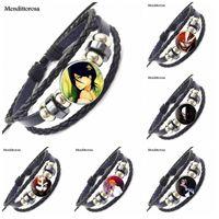 Braccialetti di fascino per le ragazze Gioielli di marca con vetro cabochon Dichiarazione Braccialetto in pelle nera Braccialetto Ichigo Kurosaki Shinigami Casella vuota