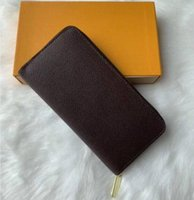 Portefeuille Clemence محفظة جودة عالية إمرأة أزياء أزياء طويلة محافظ عملة محفظة بطاقة حالة حامل بني للماء قماش الأبيض M60742 الرياضة
