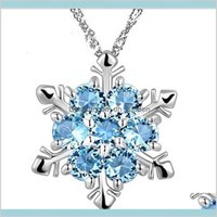 Pendant Necklaces & Jewelryfashion Jewelry Blue Crystal Snowflake Frozen Flower 925 Sier Necklace Pendants With Chain Drop Delivery 2021 Wmg