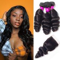 Alinybeauty 100% Raw Unprocessed Virgin Cuticle Aligned Human Hair Extensions, Peruvian Bulk Hair Loose Wave Bundles With 4x4 Lace Closure