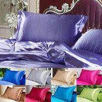 Nueva caja de almohada de satén de seda sólido reina estándar de almohada de almohada de cama de almohada de casas de almohada liso multi colores