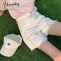 Women's Shorts Yitimoky High Waisted Jeans For Women Summer 2021 Denim Clothing Booty Sweatshorts Fashion Tassel White Pink Zipper