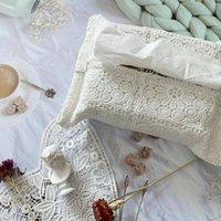 Sacs de rangement Boîte de tissu Couvre-boîte brodé Coque décorative de la dentelle Vintage Maison Organisateur de voiture