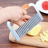 Queentime batata slicer faca cortador de enrugamento onda cortador de batata vegetal chip cozinha ferramenta de corte faca faca 210319
