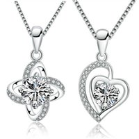 Charm Bracelets S925 Pendant simple diamond inlaid Clover Fashion clavicle chain Japan and South Korea Sterling Silver Necklace