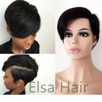 Perruques malaisiennes droites courtes pour femmes noires Remy cheveux cheveux en dentelle avant cheveux humains Perruques de couleur naturelle