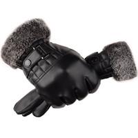 Mens Best Design Рождественский подарок сгущает черные теплые моющие кожаные перчатки Business Working TouchScreen Перчатки 336 T2