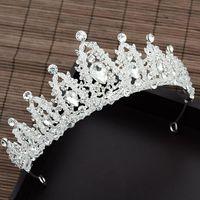 Lujo Barroco Rhinestone Bridal Tiaras Crowns Crystal Beads Diadem Headbands Boda Cairaccessories Haircilps Hecho a mano Venta Clips de cabello B