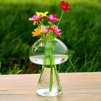 فطر شكل زهرية الزجاج تيران زجاجة حاوية زهرة طاولة المنزل ديكور نمط الحديث الحلي 6 قطعة sygm