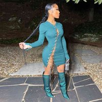 Chain Lace Up Hollow Out Sexy Wrap Dresses Women Long Sleeve Stretchy Bandage Mini Streetwear Bight Club Bar Party 210508