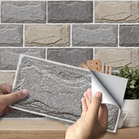 Wallpapers Stone Texture Wall Stickers Retro Oil-proof Waterproof Tile Sticker For Kitchen Bathroom Ground House Decoration