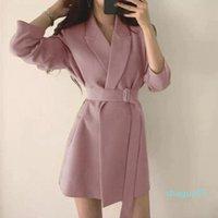 Women's Suits & Blazers Primavera Outono Feminino Longo Jaqueta Com Cinto Entalhado Outwear Senhora Do Escritorio Casaco