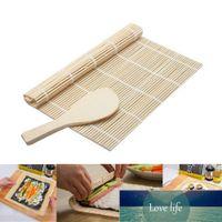 Bamboo Stuoia di Sushi Stuzzini Sushi Utility Sushi Rolling Maker Materiale di bambù Rullo di Bambù Tappetino fai da te e una pagaia di riso Set Sushi Strumenti