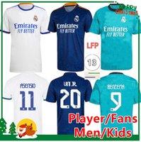 21 22 Real Madrid Futebol Jerseys Hazard Alaba Benzema Asensio Modric Marcelo Isco 2021 2022 Home Away Football Shirts Kid Kids + Homens