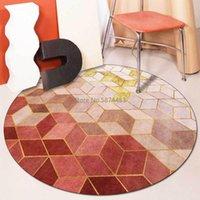 Légère luxe nordique or rose gradient géométrique diamant lattice salon chambre à coucher tapis de tapis tapis antidérapant tapis tapis