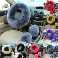 Cubiertas del volante 3 unids Universal Coche Peluche Fuzzy Cover Wool Knob Shifter Frake