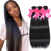Human Hair Bulks 28 30 Inch Brazilian Straight Bundles 100% Extension Natural Color 1 3 4 Weaves