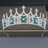 Hair Clips & Barrettes Cenmon Green Crystal Bridal Crown For Women Rhinestone Pageant Tiaras Diadem Ornament Prom Wedding Jewelry 2021